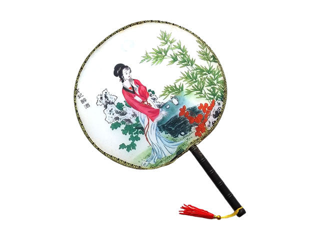 Maiden Design Printed Fabric Paddle Hand Fan