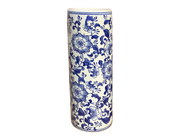 Blue & White Design Cylinder Vase/Umbrella Holder