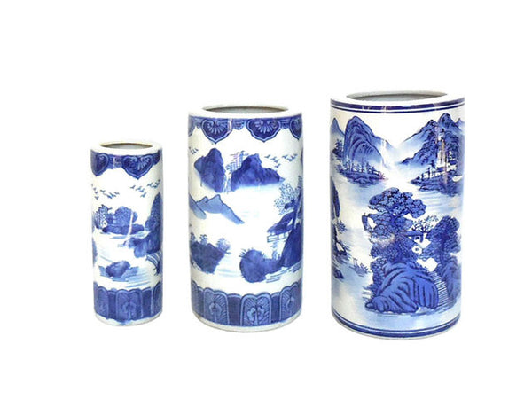Blue on White Landscape Design Porcelain Holder