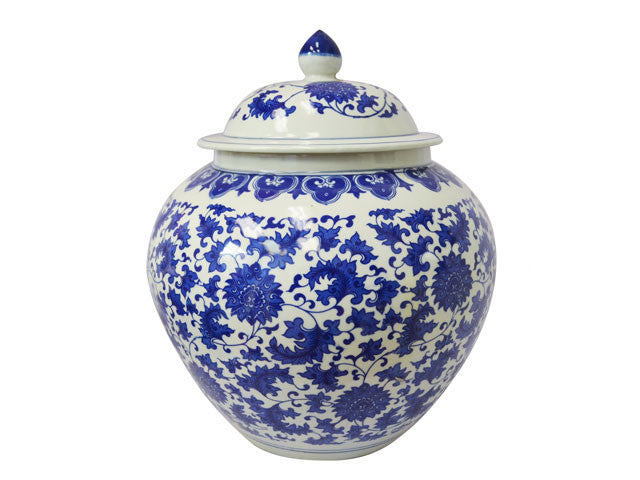 "Blue on White Ceramic Jar - Melon Shape (16""H)"