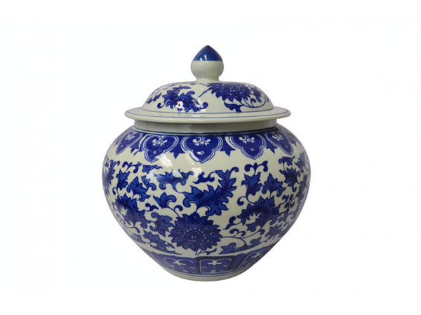 Blue on White Ceramic Jar - Melon Shape