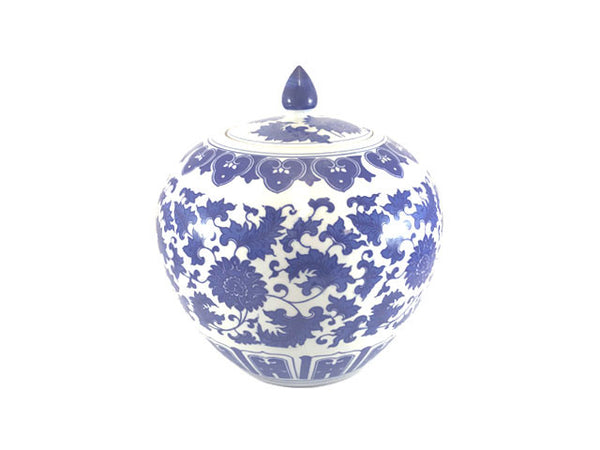 "Blue on White Ceramic Jar - Apple Shape (10""H)"