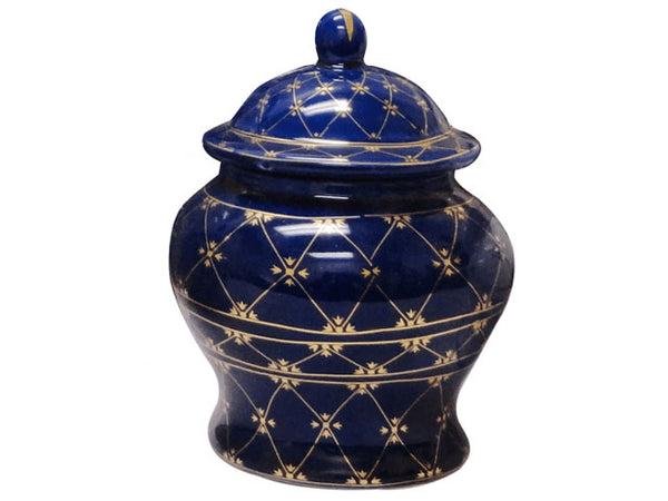 Cobalt Blue w. Gold Essence Temple Jar