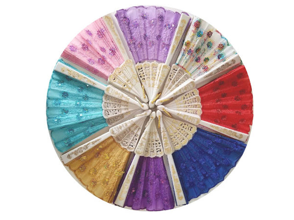 Circular display of multi-colored sequin fans