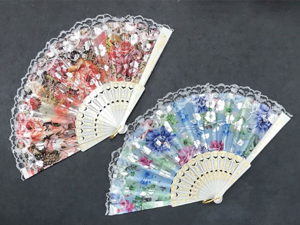 Two Floral Fabric Fans with Lace Trim in red and blue designs