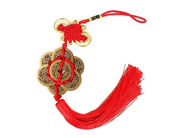 Coins Ornament with Red Tassel - 6+2 Coins (HEX)