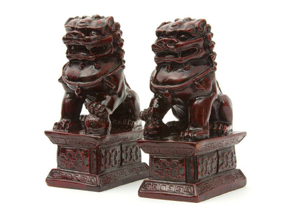 Resin Foo-Lion Statue Set - Mahogany 6.5""