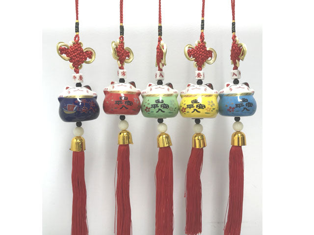 Ceramic Lucky Cat Ornament with Tassel