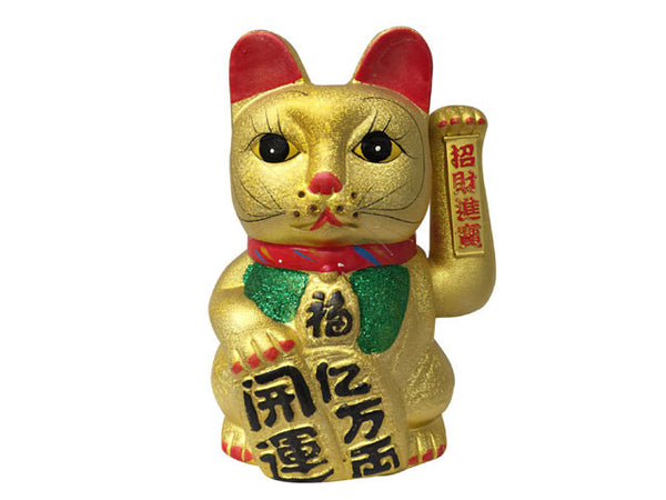Ceramic Hand Motioned Gold Lucky Cat (Maneki-Neko Welcoming Cat)