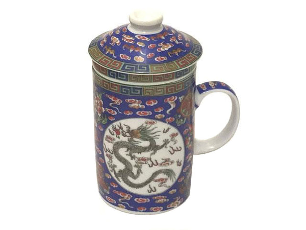 Dragon on Cloud Designs Mug with Infuser - Cobalt Blue