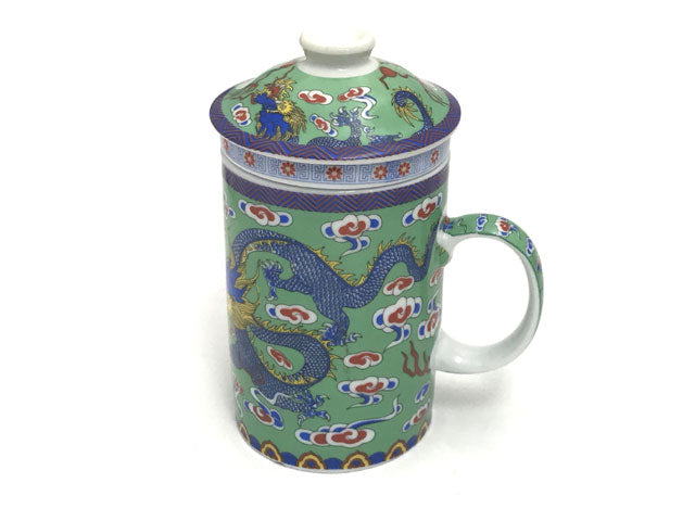 Dragon on Cloud Designs Mug with Infuser - Green