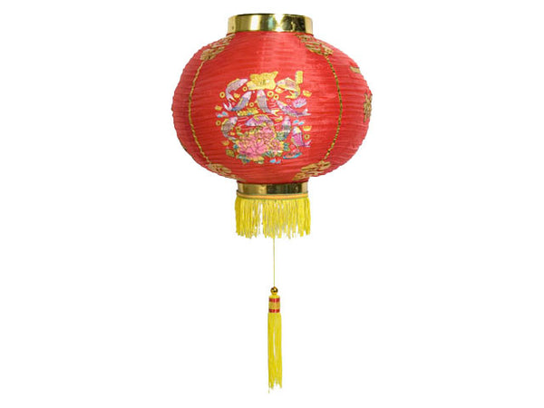 Multi-Color Print New Year Red Nylon Lantern (2pcs Set)