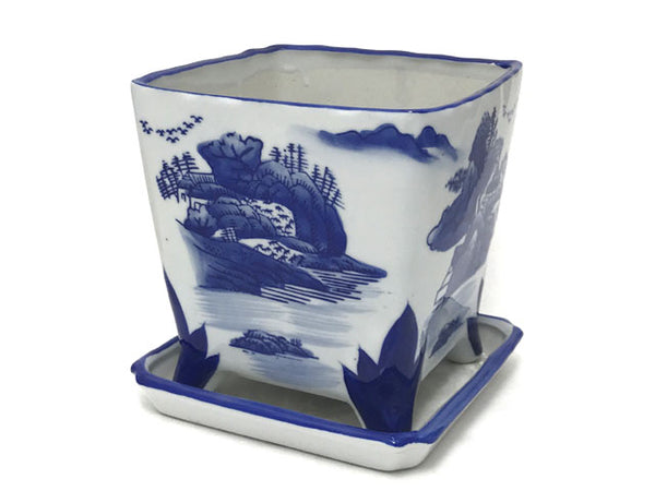 Chic square Asian planter with elegant mountainous landscape printed with a painterly quality