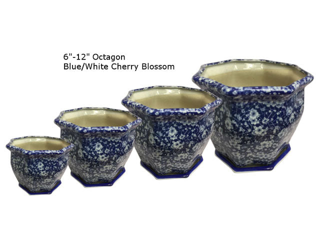 Blue Blossom Ceramic Flower Pot w, Tray (Octagon)