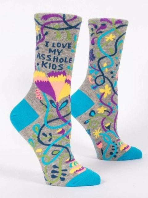 Women's Funny Socks: I Love My A**hole Kids