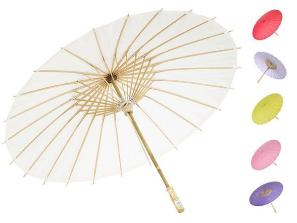 Pretty white paper parasol with variety of other colors