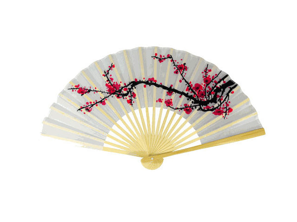 Lovely white fan with delicate black branch of pink blossoms