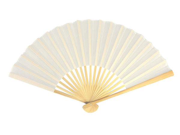 Exquisite folding fan with white fabric and bamboo frame