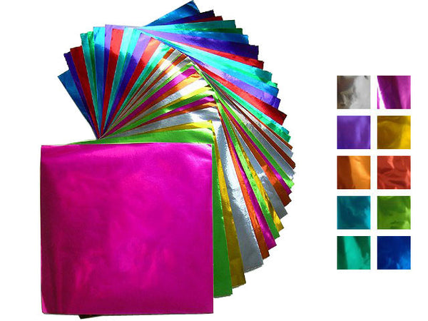 Shiny foil origami paper in a variety of colors