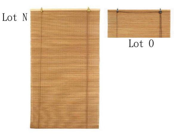 Two classic sturdy brown bamboo blinds one long one short