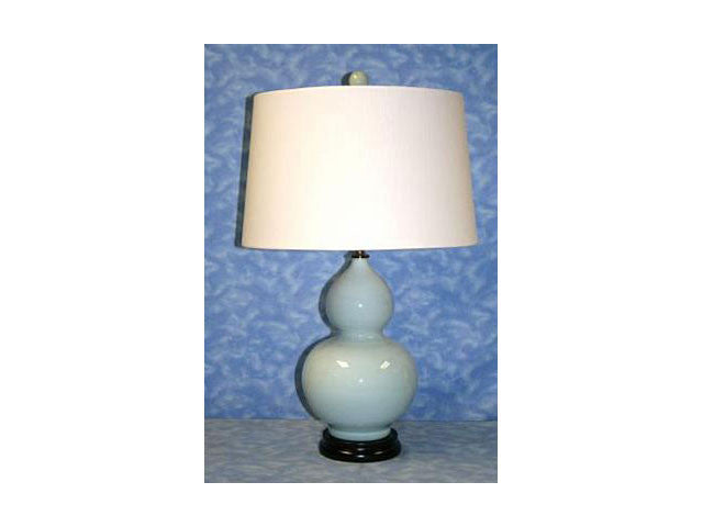 Double Gourd Delft Vase Lamp with Shade
