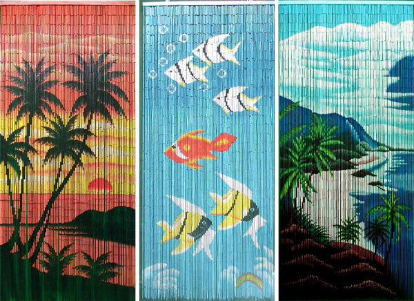 Tropical Design Fine Bamboo Curtain - 36in x 80in ( Out of Stock )