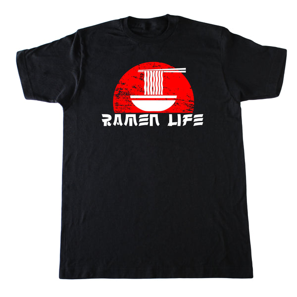 Black T-shirt for adults with red and white bowl design and words, Ramen Life