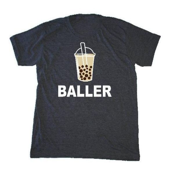 "Charcoal T-shirt with ""Baller"" and a cup of bubble tea"
