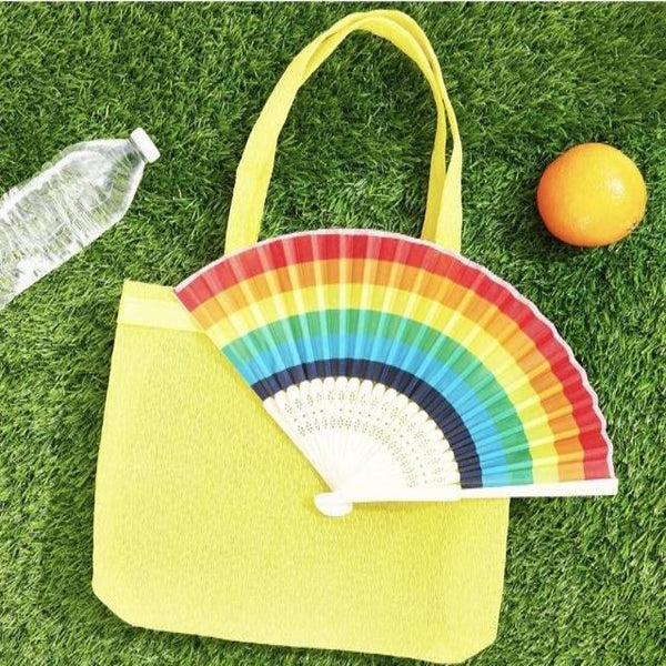 Rainbow Folding Fan (Bamboo)
