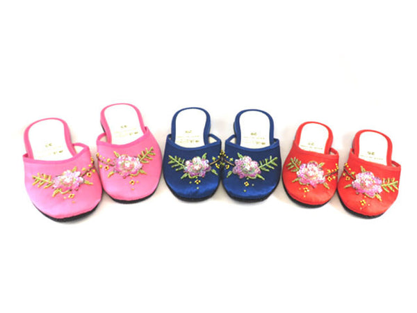Beaded Flower Satin Slipper - For Children
