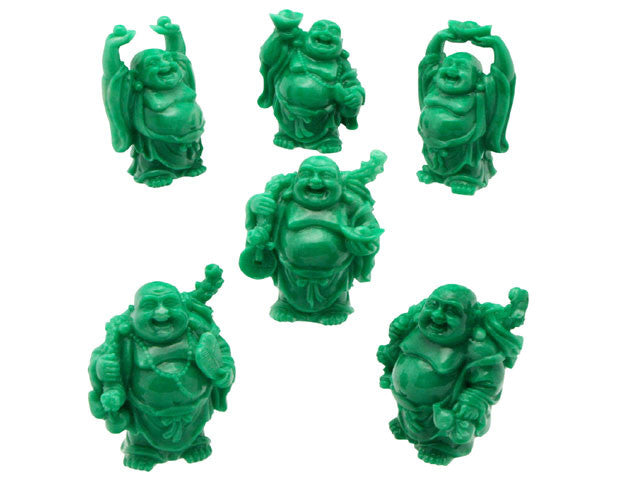 Jade Green Laughing Buddha Set of 6 (2.5 in.to 3 in.H)