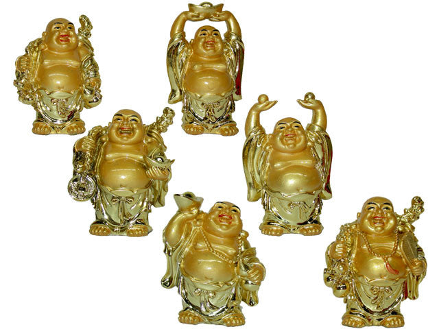"Gold Color Laughing Buddha Set of 6 (2.5"" to 3"" H)"