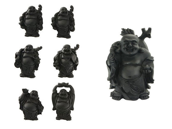 "Black Laughing Buddha Set of 6  (2.5"" to 3""H)"