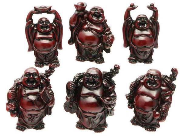Mahogany Color Laughing Buddha Set of 6 (3.5 in. to 4.25 in.H)