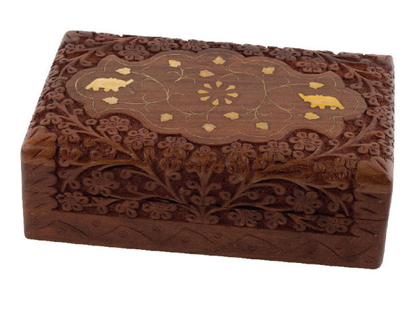 Accessories Wooden Box - Elephant Inlay