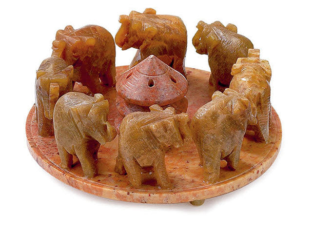 Soapstone Incense Burner - 8 Elephants