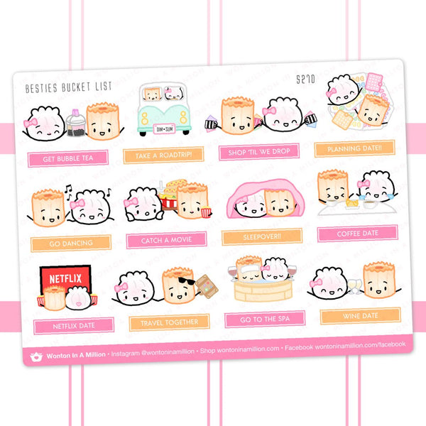 Wonton in a Million Planner Stickers: Besties Bucket List