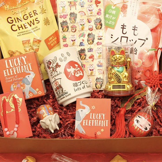 Box full of lucky items including orange ginger chews, fortune cat stickers, peach candies, lucky elephant kit, lots of luck teacup, lucky cat figurine, mini plant daruma