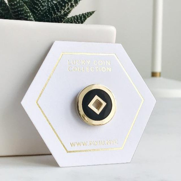 Lucky Coin Enamel Pin (Onyx Color)