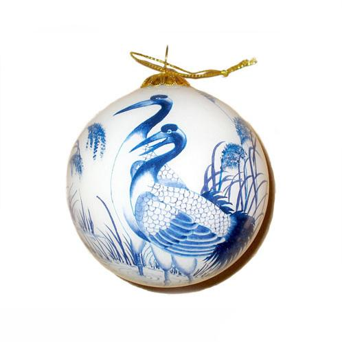 Hand-Painted Glass Ornament, Blue Crane