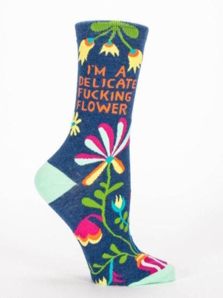 "Blue women's sock with colorful design and text, ""I'm a delicate fucking flower"""