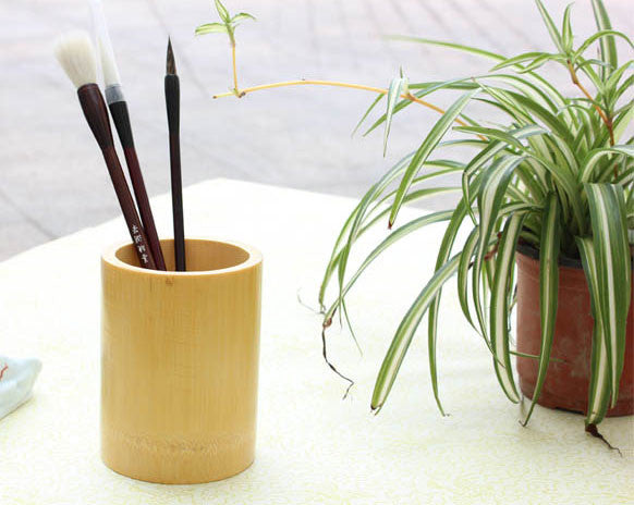 Natural Bamboo Tubing Calligraphy Brush Holder