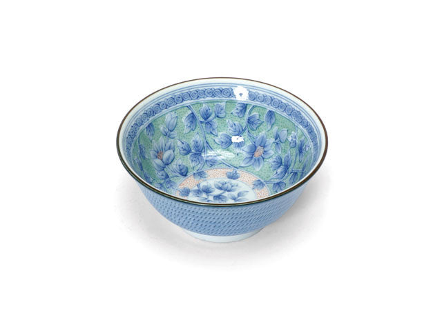 Chic Blue Flower Print Bowl (6 in.)