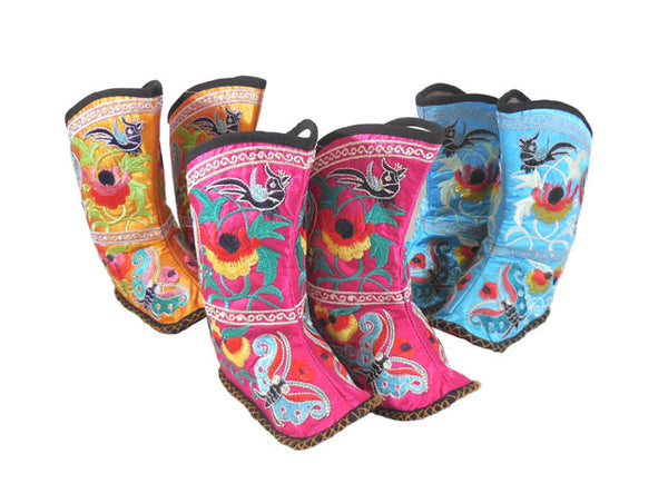 Traditional Miao Embroidered Baby Boots