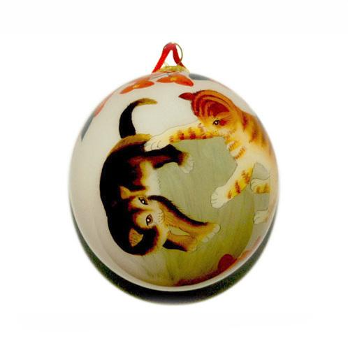 Hand-Painted Glass Ornament, Cats at Play