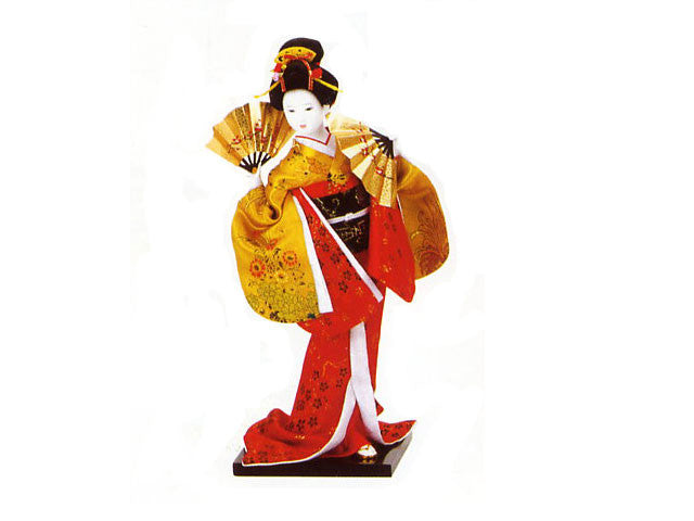Japanese Lady with Gold/Red Kimono
