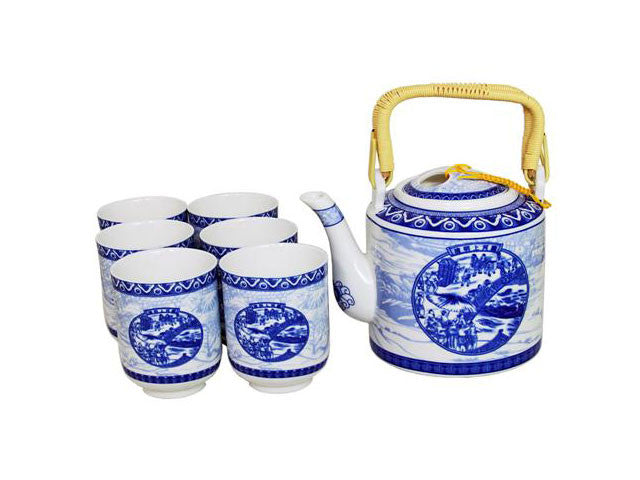 Blue on White River Town Scene Design Tea Set
