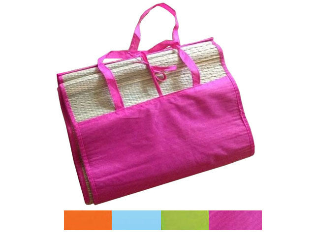 Straw Beach Mat with Color Fabric Cover