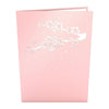 Exterior of pink card with silver cherry blossom design