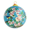 Hand-Painted Glass Ornament, Cherry blossom with Blue Birds